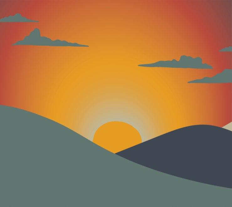 Un paysage illustré avec un feu en arrière-plan, conçu pour diminuer l'anxiété